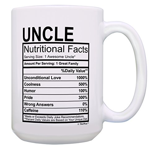 Uncle Gifts for Men Uncle Nutritional Facts Uncle Gag Gift Funny Uncle Gift 15-oz Coffee Mug Tea Cup 15 oz White