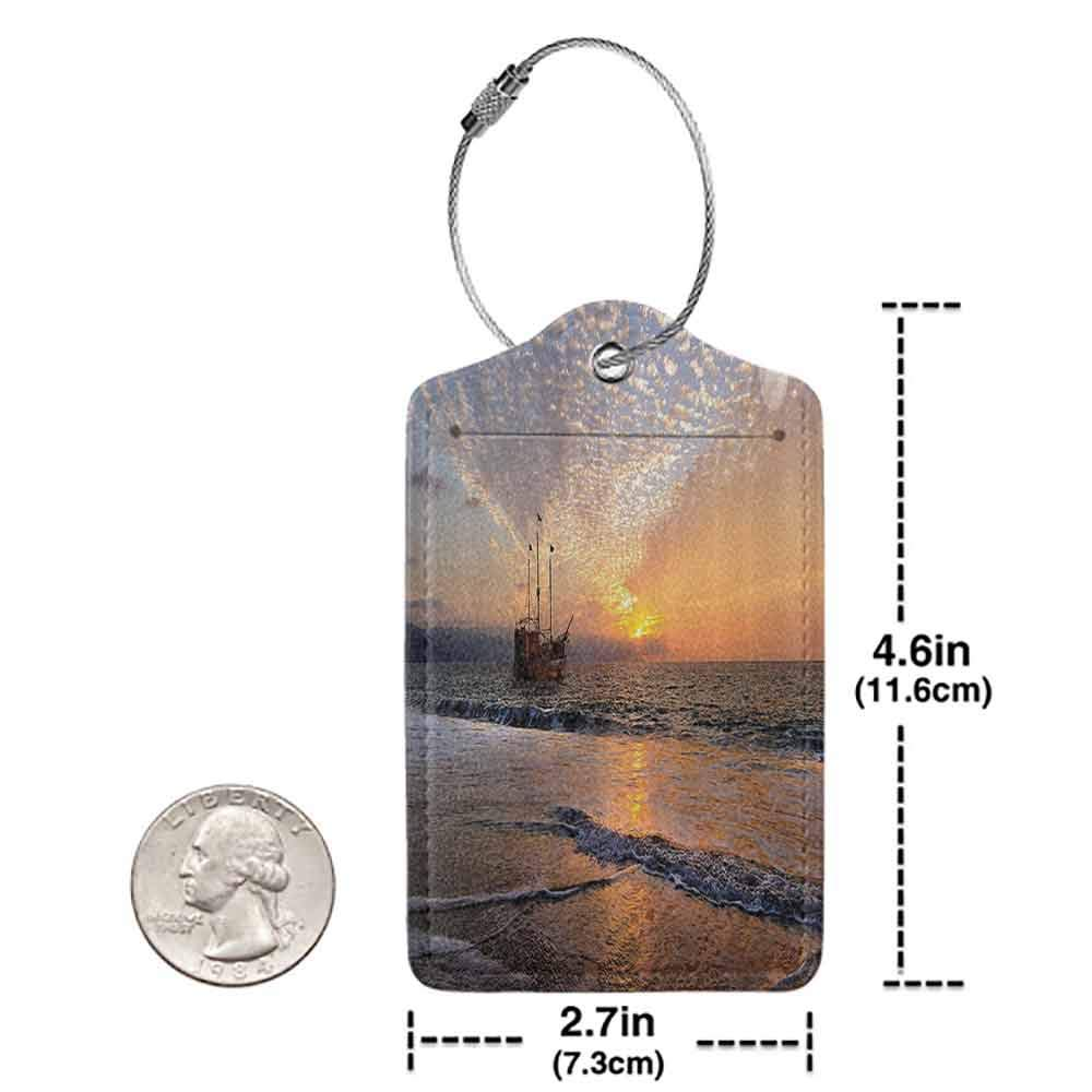 Printed luggage tag Nautical Pirate Ship Sailing in Waves Fantasy in the Sea Horizon Moon Sky Surreal Scenery Protect personal privacy Multicolor W2.7 x L4.6