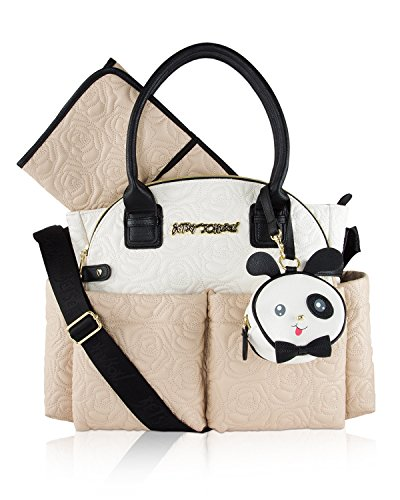 Betsey Johnson 3pc Downtown Rose Quilt Multi-Function Diaper Tote Bag with Changing Mat - ()