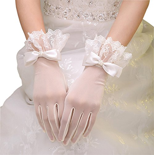 Pretydress Women Glove Lace Edge Pearl Bow for Wedding Party (White)