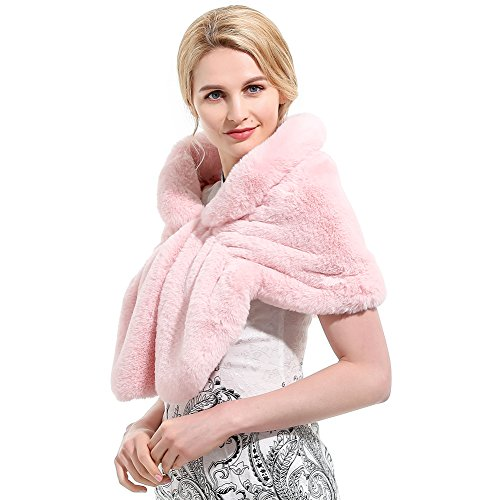 Roniky Womens Winter Faux Fur Wedding Shawl Wrap Stole Shrug Bridal Wedding Cover Up (S, pink) ()