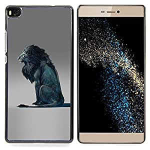 - Lion Blue King Abstract Grey King - - Snap-On Rugged Hard Cover Case Funny HouseFOR HUAWEI P8