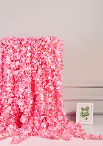 AlphaAcc Pink Artificial Silk Wisteria Flower Hanging Garland Home Wedding Party Decor, Pack of 5
