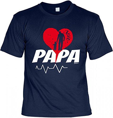 T-Shirt Vater - Papa mit Herz - Geschenk Idee mit Humor zum Vatertag oder Geburtstag - navyblau