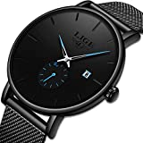 Men's Fashion Watch Simple Casual Analog Quartz Date with Black Milanese Stainless Steel Mesh Band Minimalist Wrist Watches