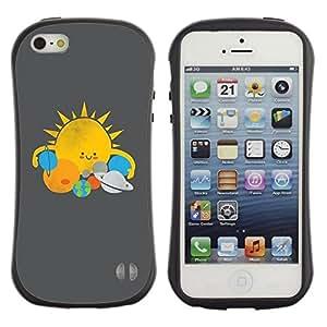 "Pulsar iFace Series Tpu silicona Carcasa Funda Case para Apple iPhone SE / iPhone 5 / iPhone 5S , Star System Sol Planetas Kids Drawing"""