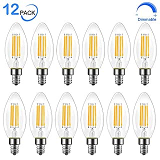 Dimmable E12 LED Candelabra Bulb, 60 Watt Equivalent B11 LED Chandelier Light Bulbs, Soft White 2700K, 550 Lumens, Candle Base Bulb for Ceiling Fan, UL Listed, 12 Pack