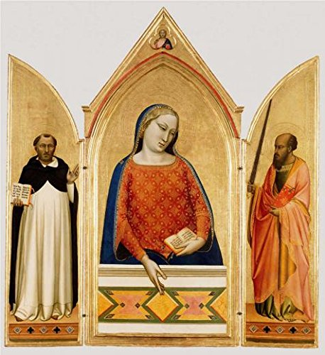 Oil Painting 'Madonna, Saint Thomas Aquinas, And Saint Paul,1330 By Bernardo Daddi' Printing On High Quality Polyster Canvas , 16x17 Inch / 41x44 Cm ,the Best Living Room Artwork And Home Decoration And Gifts Is This High Quality Art Decorative Canvas Prints