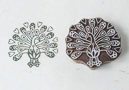 - Blockwallah Peacock with Hearts Wooden Block Stamp