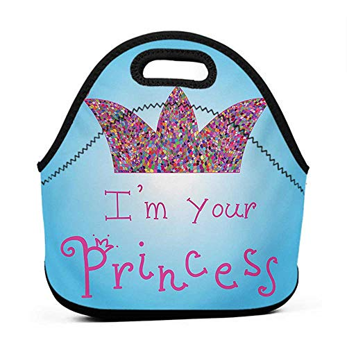 (Convenient Lunch Box Tote Bag I am a Princess,Romantic Quote Couples in Love Colorful Mosaic Style Crown Tiara,Blue Pink Multicolor,corgi lunch bag for girls)