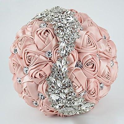 24e574c4080 Amazon.com: Ziye Shop Handmade Romantic Diamond Pearl Rhinestone Brooch  Bridal Artificial Wedding Bouquet of Flower (Gold): Home & Kitchen