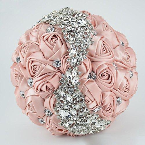 Gold Bouquet - Ziye Shop Handmade Romantic Diamond Pearl Rhinestone Brooch Bridal Artificial Wedding Bouquet of Flower (Gold)