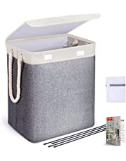 TYLINK Laundry Basket with Lid, Laundry Hamper Collapsible Canvas Fabric Basket, Clothes Kids Toys Storage Hamper Washing Basket with Handles, Laundry Bin, Bedroom Home Essentials(67L/94L)