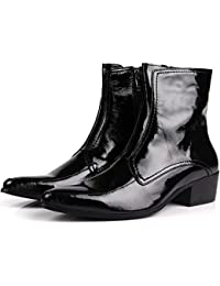 Patent Leather Pointy Toe Dress Business Calf Zip Boots Mens Shoes