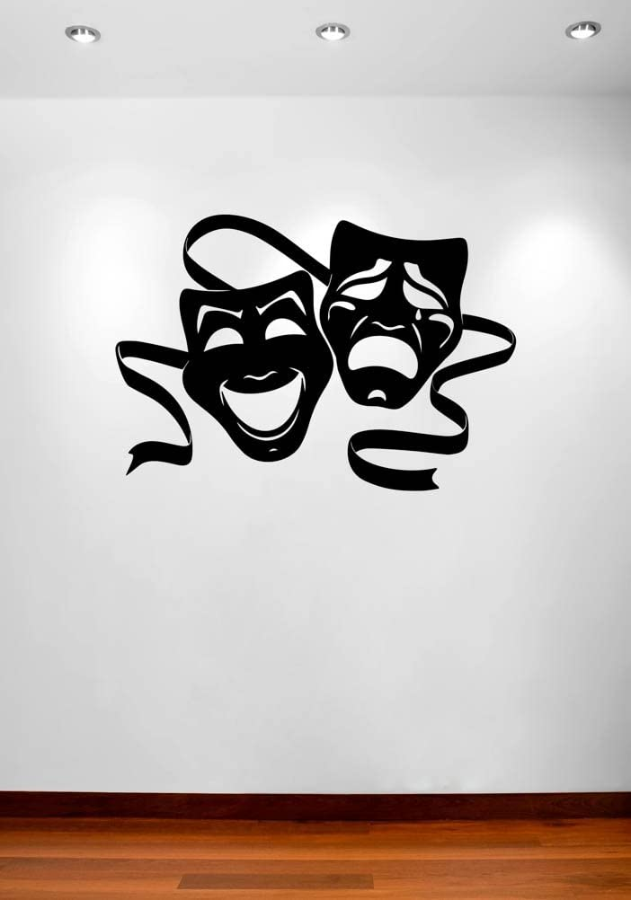 "Theater Masks Comedy and Tragedy Wall Decal Vinyl Home Decoration - 20"" Wide x 14"" high"