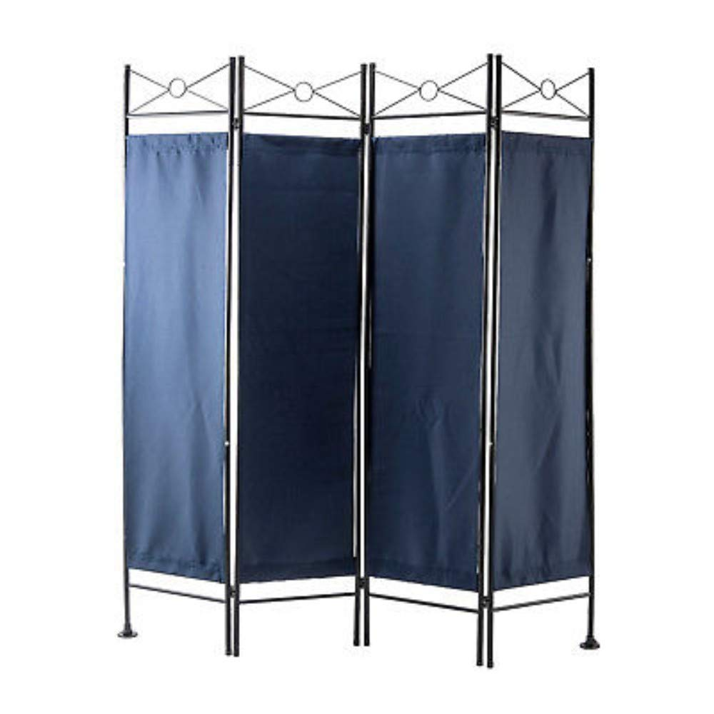 Folding 4 Panel Room Divider Privacy Room Screen Home Accents Office Dorm Decor- Blue NA