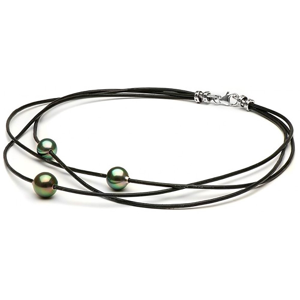 Black Cultured Tahitian Pearls on Braided Leather Choker, 9.0-10.0m and 10.0-11.0m, 16-Inches, Sterling Silver