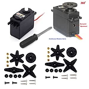 2 Pack FS5103R Continuous Rotation 360 degree 44.52oz Ball Bearing Servo Arduino