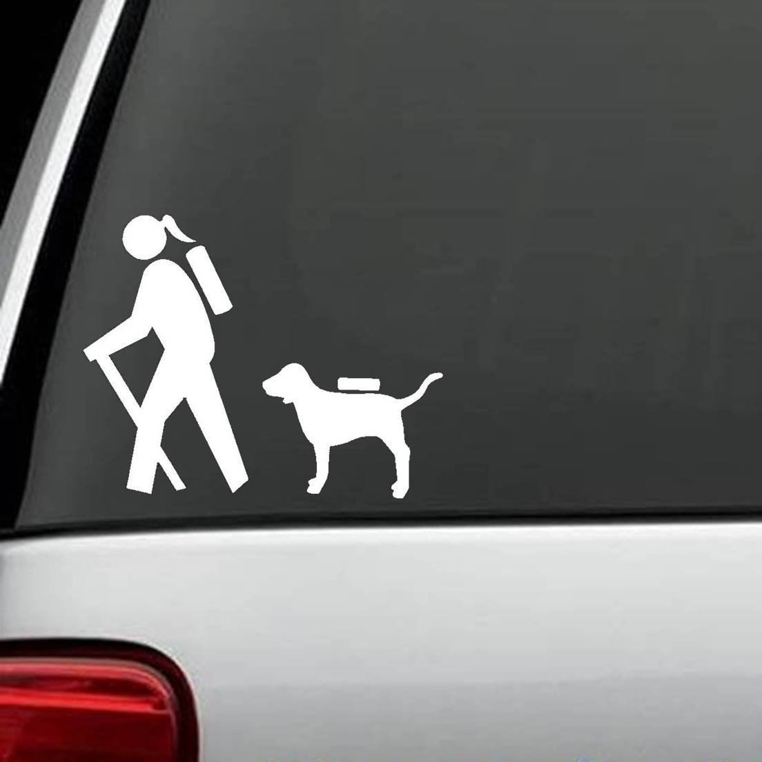 Amazon com girl hiker with dog hiking camper camping decal sticker automotive
