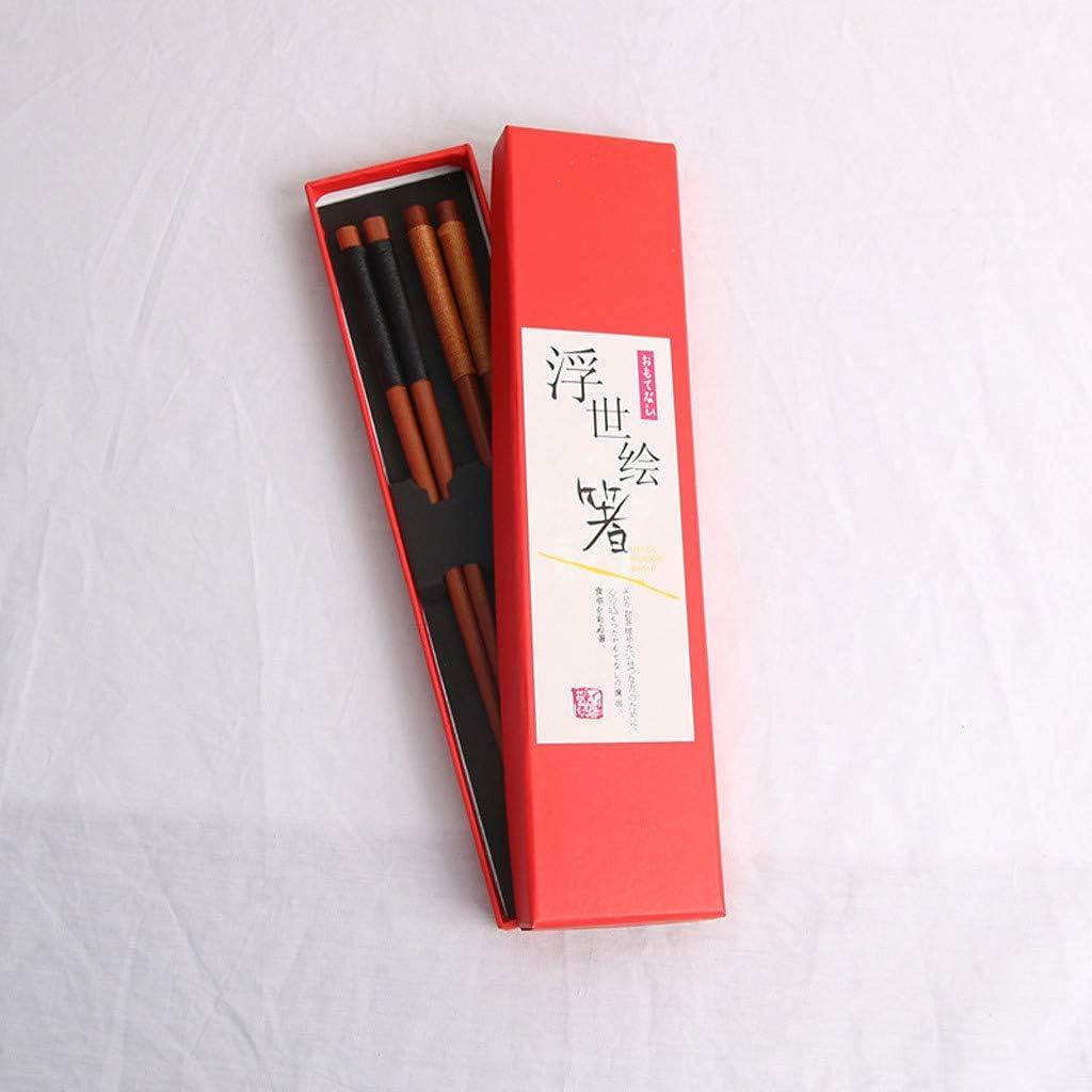 JJggsi4 Bacchette riutilizzabili in Stile Giapponese Bacchette in Legno Naturale 3 Pezzi Set Bacchette Legate Confezione Regalo 2 Paia di scatole Regalo Set di Linee Legate Vecchie pitture