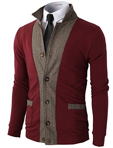 H2H Mens Two-tone Herringbone Jacket Cardigans WINE US L/Asia XL (JLSK03) (Wine Tone Two)