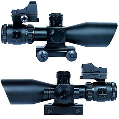 Ledsniper®3 in 1 Super Useful 2.5-10x40 Tactical Rifle Scope w/ Red Laser & Mini Reflex 3 MOA Red Dot Sight