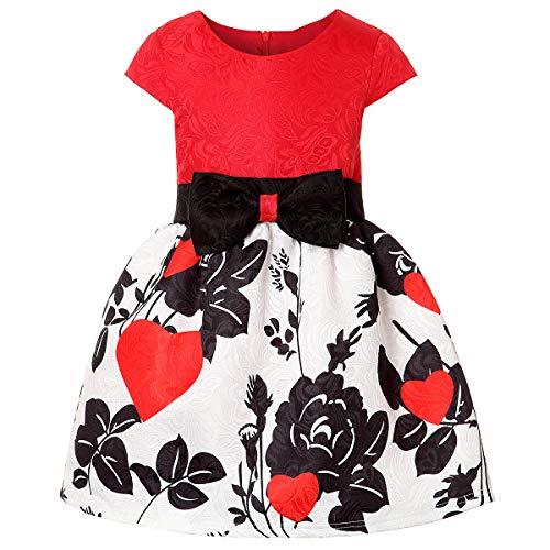 Girl Print Dress, Sleeveless Casual Floral Sundress Girls 2-3 Years Junior Bridesmaids Flower Girl Dress Size 3 (1802 Red, 3) -