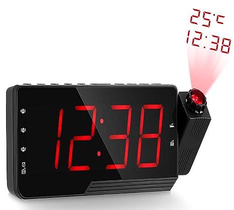 RRXXZZ LED Proyector Despertador, Digital Radio Reloj Despertador ...