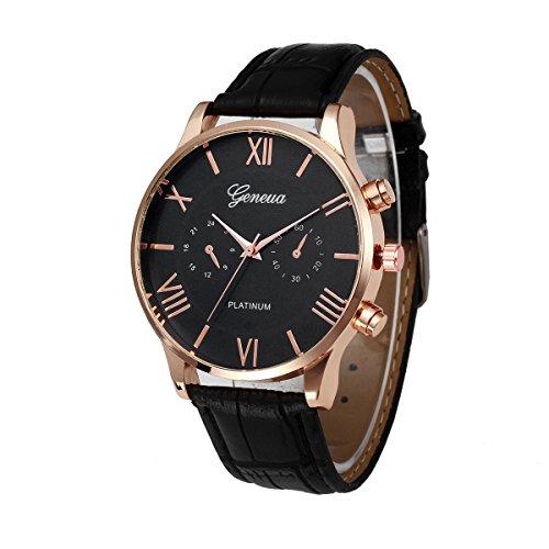 Men Quartz Watch,ODGear Cheap Wrist Watch Leather Band Large Dial NW73