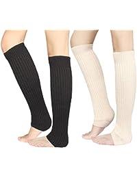 2 Pairs Womens Winter Warm Knitted Leg Warmers Crochet Long Socks