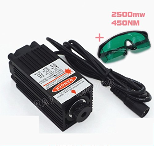 2500mw 450nm 2.5W High Power Focusing Blue Laser Module Laser Tube+Safety Goggle for 2418 CNC Router by RATTMMOTOR