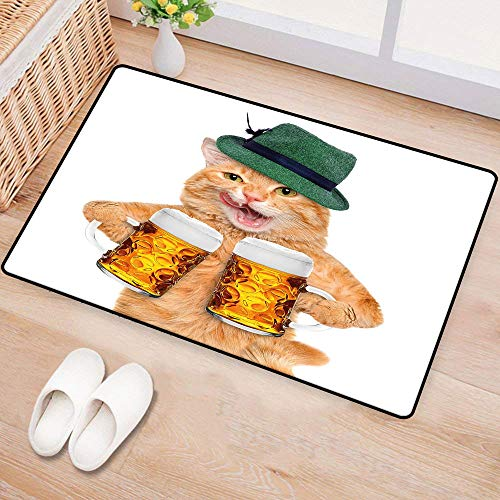 WilliamsDecor CatInterior Door matCool Cat with Hat and Beer Mugs Bavarian German Drink Festival Tradition Funny HumorousAnti-Fading W24 xL35 Multicolor