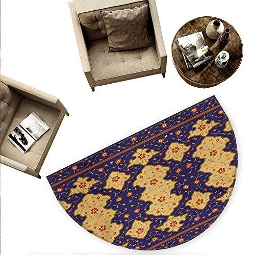Moroccan Semicircular Cushion Traditional Arabic Border Visual Ottoman Inspired Unusual Repeating Pattern Entry Door Mat H 74.8