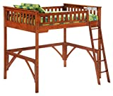 Night & Day Furniture GIN-LBH-FUL-COM-STR-CH Ginger Lofts with straight desk, cherry finish, Full