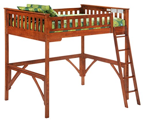 Night & Day Furniture GIN-LBH-FUL-COM-STR-CH Ginger Lofts with straight desk, cherry finish, Full by Night & Day Furniture