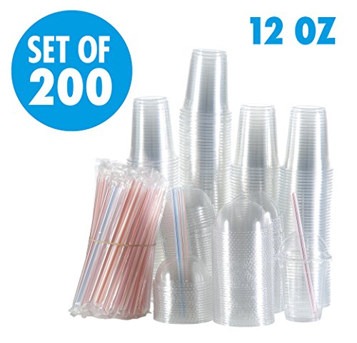 Set of 200 12oz Clear Plastic Cups with Dome Lids, Smoothie Wide Large Straw, Cold Smoothie Iced Coffee Cup with Lids, Great for Cocktail, Juice, Teas, Clear Frozen Drink Beverage (12oz, Dome)