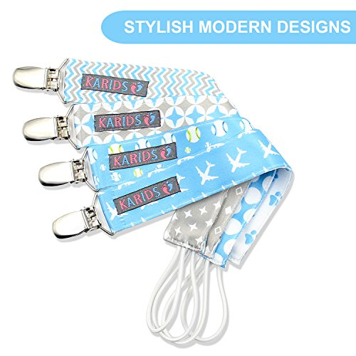 Pacifier Metal Clip (4 Pack) for Babies, Infants, and Toddlers - Unisex Modern Pacifier Holder for Binky, Soothie, Toys - Cute Durable Lightweight Baby Accessory -Boy Pack-