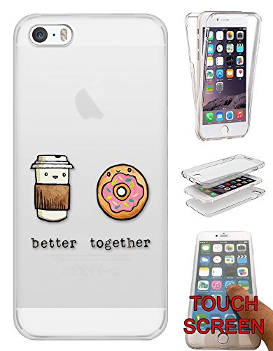c01245 - Best Friend Better Together Quote Coffee Doughnut Design iphone SE -2016 / iphone 5 5S Fashion Trend Silikon Hülle Komplett 360 Degree Protection Flip Schutzhülle Gel Rubber Silicone Hülle