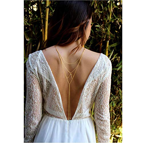 (Olbye Low Back Necklace Crystal Backdrop Necklace Gold Body Chain Jewelry for Women and Girls Bridal Necklace Jewelry )