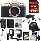 Fujifilm X-T100 Digital Camera Body (Champagne Gold) 64GB Card + Battery & Charger + LED Video Light + Microphone + Flash + Case + Tripod + Kit