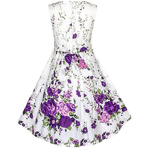 Sundress Fashion Purple Rose Girls Party Double Kids Dress Flower Bow Tie Sunny White Purple PqZdtAwxq