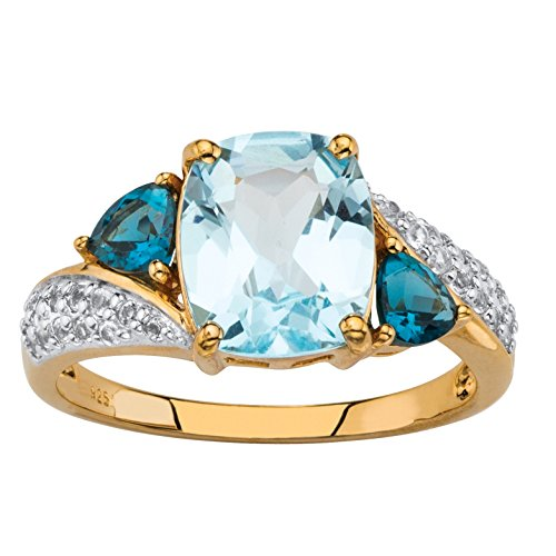 Genuine Blue Topaz and CZ Accent 18k Gold over .925 Sterling Silver Ring