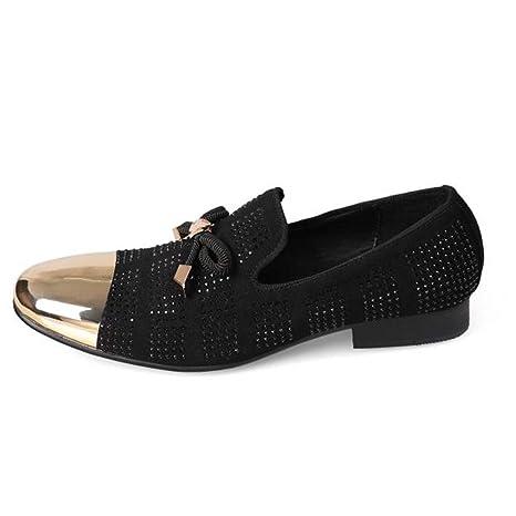 YAN Zapatos de Hombre Moda Zapatos de Vestir Negros y Bajos Zapatos de Vestir Formales y