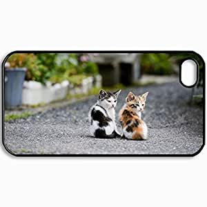 Customized Cellphone Case Back Cover For iPhone 4 4S, Protective Hardshell Case Personalized Cute Twin Kittens Design Black