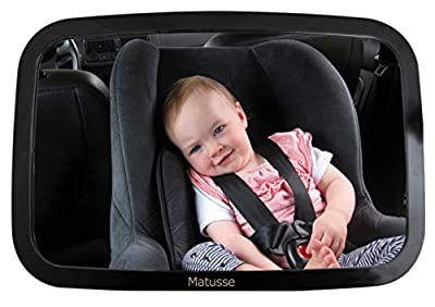 Baby Rear Facing Back Seat Car Mirror - Extra Large Crystal Clear Reflection with Wide-Angle View - Shatterproof & Lightweight - No Center Headrest required - Great for Baby Shower Gift