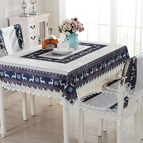 YaXuan Tablecloth, European Fabric Tablecloth Cotton Linen Small Fresh Nordic Style Tea Table Cover Cloth Christmas Tablecloth Table Runners Chair Cover (Color : Blue, Size : ()