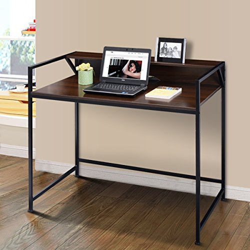 Tangkula 2 Tier Computer Desk Home Office Studyroom Apartment Dom Simple Design Spacious Workstation Study Writing Table Notebook Laptop Desk Compact Computer Desks (standard desk) by TANGKULA