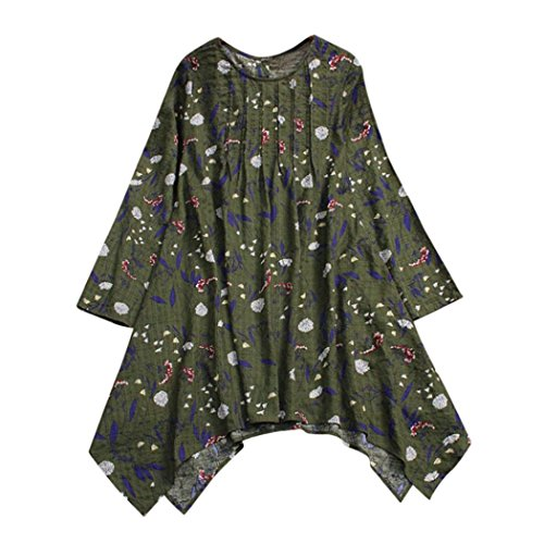 Sunhusing Women Cotton Linen Long-Sleeved Vintage Floral Print Folds Design Flowy Hem Shirt