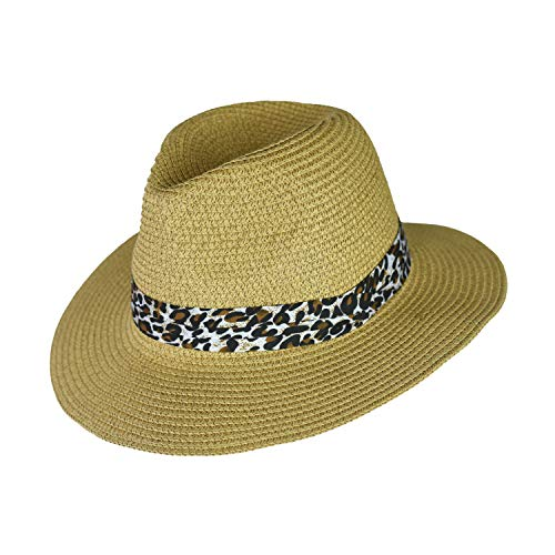 - Summer Large Brim Straw Panama Sun Hat for Women- Adjustable Boho Fedora with Leopard Print Band (Leopard Print on Natural Tan)
