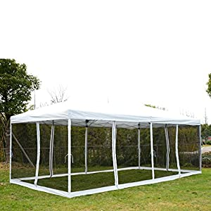 outsunny 10 39 x 20 39 pop up canopy shelter party tent with mesh walls cream white. Black Bedroom Furniture Sets. Home Design Ideas